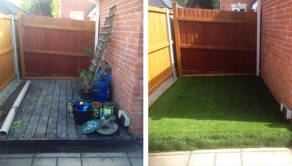 Stratford Artificial Grass Over Decking - before and after pictures