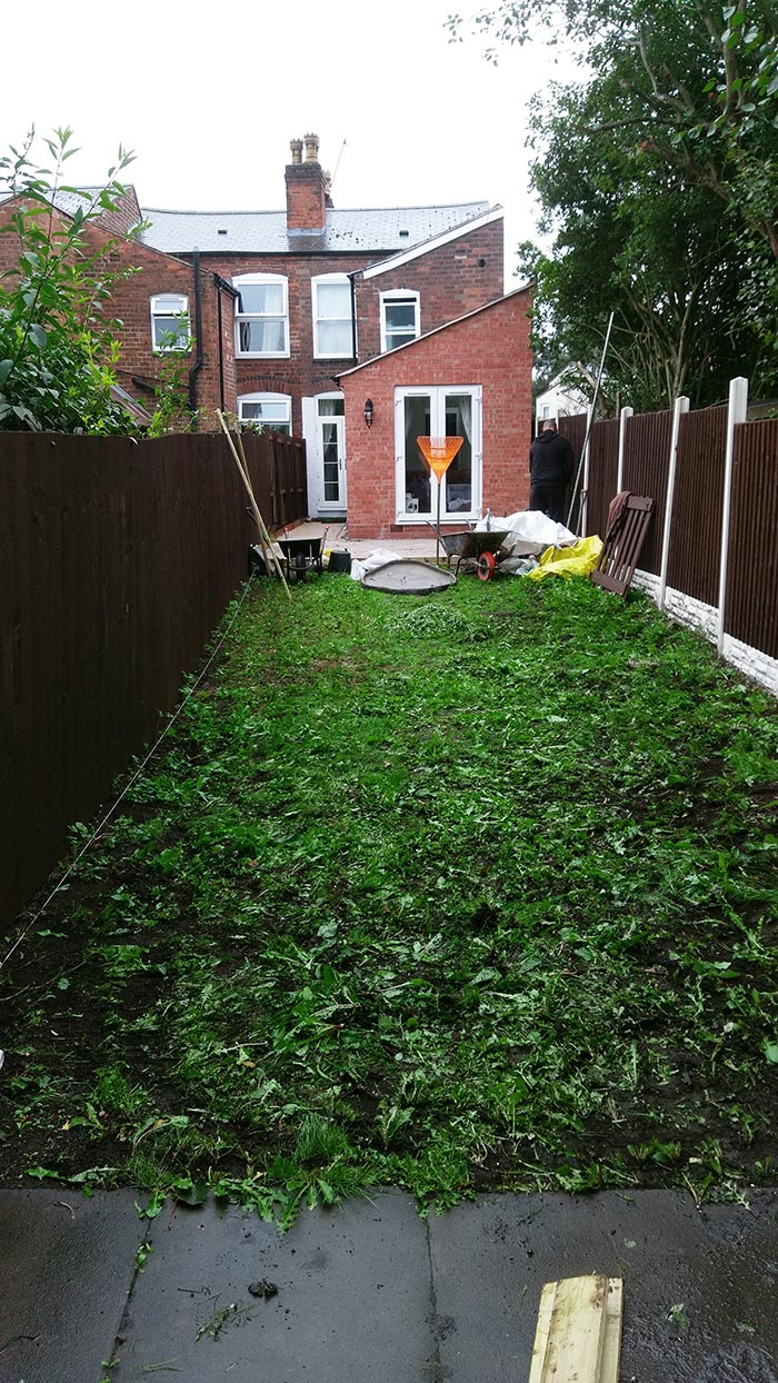 Before the artificial grass was installed