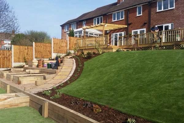 landscaped artificial lawn on steep incline