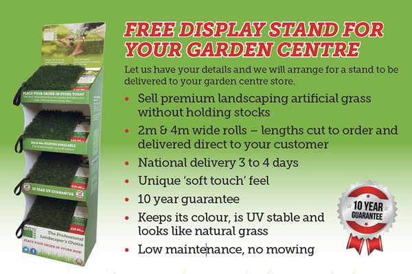 artificial grass garden centre display stand