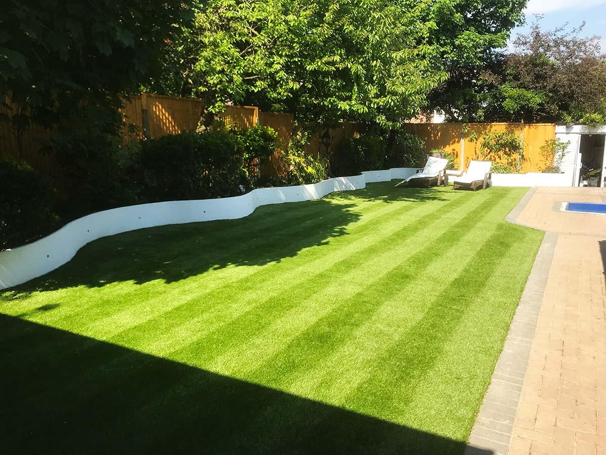 Striped artificial grass