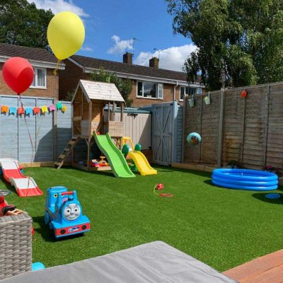 Artificial Grass family garden in Ludlow
